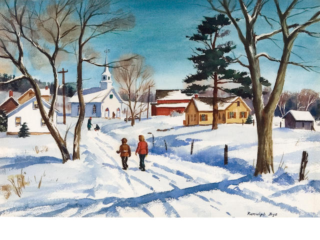 Ranulph Bye (American, 1916-2003) Figures walking in snow 14 1/4 x 21 1/4in