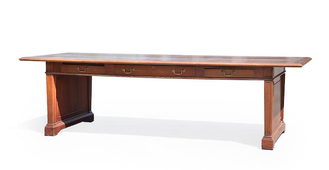 A Neoclassical style mahogany large architects desk<BR /> Desks Inc., New York, 20th century