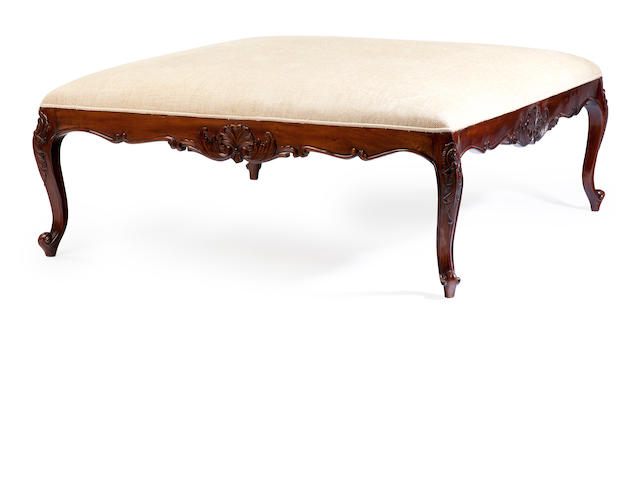 A Louis XV style mahogany stained fruit wood oversized tabouret<BR />20th century