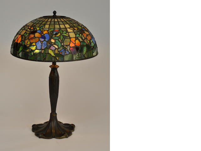 A contemporary Nelson leaded glass and patinated metal Pansy table lamp