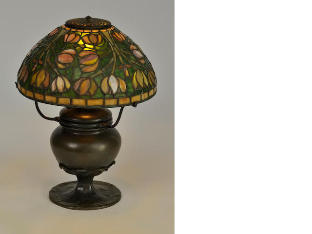 A Tiffany Studios Favrile glass and patinated bronze Tulip table lamp<BR />first quarter 20th century