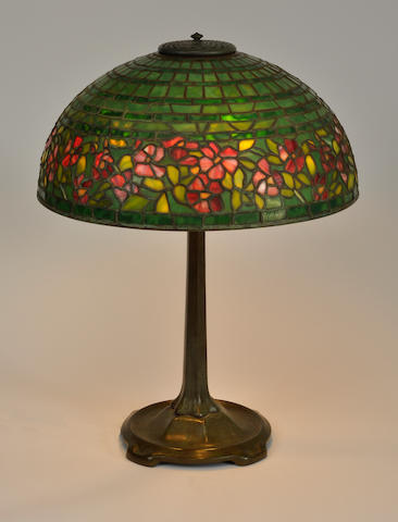 A Tiffany Studios patinated bronze Stick table  lamp base first quarter 20th century