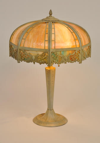 An American slag glass and painted metal table lamp first quarter 20th century