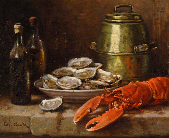 Eugene Claude (French, 1841-died circa 1922) Lobster, oysters, and wine 21 x 25 1/2in (53.4 x 64.8cm)