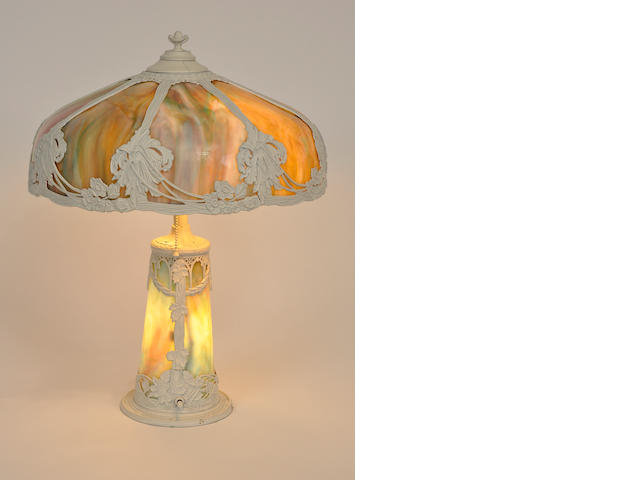 An American slag glass and painted metal table lamp<BR />first quarter 20th century