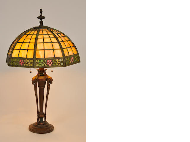 An American slag glass,  patinated metal and wood table lamp<BR />first quarter 20th century