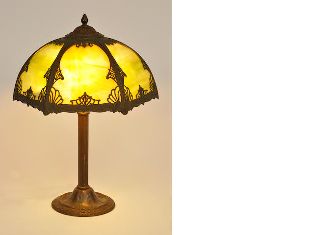 An American slag glass and patinated metal table lamp<BR />first quarter 20th century