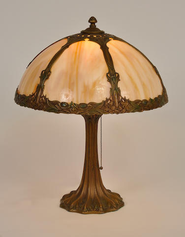 An American slag glass and gilt-metal table lamp first quarter 20th century
