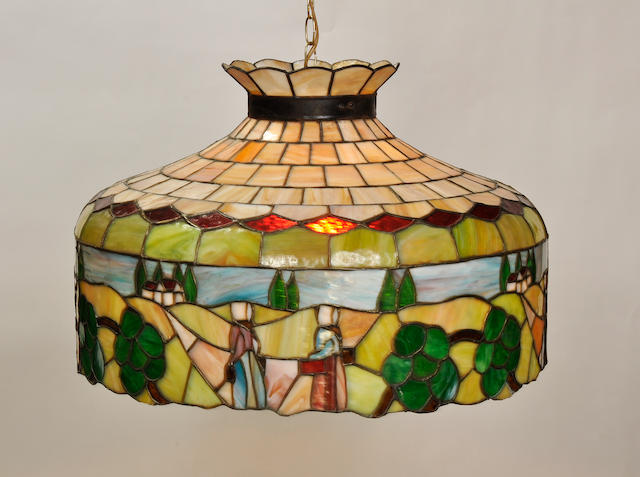 A leaded glass scenic chandelier 20th century