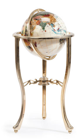 A contemporary gilt metal and inlaid terrestrial globe in stand