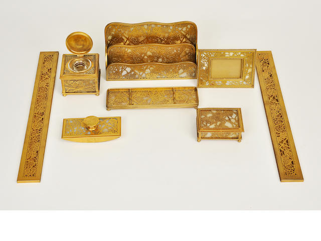 A contemporary seven-piece gilt metal and glass Grapevine desk  set<BR />After designs by Tiffany Studios