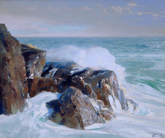 Frederick Judd Waugh (American, 1861-1940) The Rocky Point 25 x 30in