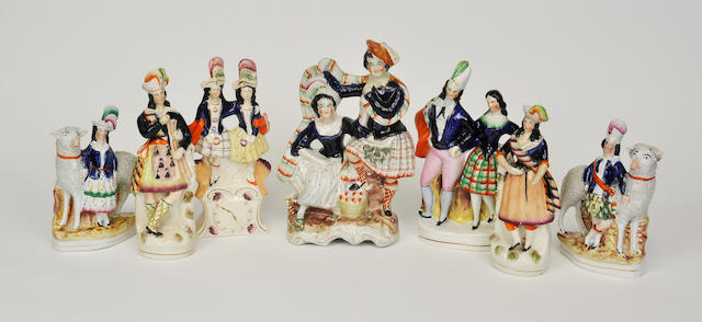 Seven Staffordshire figures modeled and painted in Highland costume circa 1900
