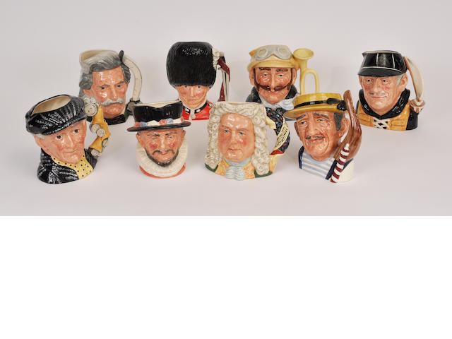 Eight Royal Doulton glazed earthenware character jugs