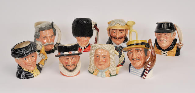 Eight Royal Doulton glazed earthenware character jugs