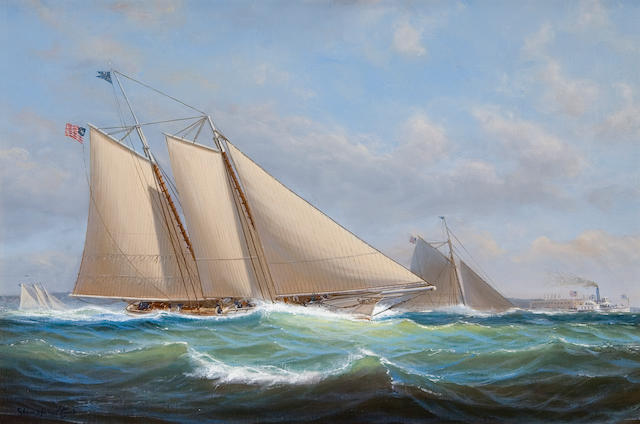 Shane Couch (British, born 1963) America and Maria racing in New York Harbor 12 x 18in (30.5 x 45.7cm)