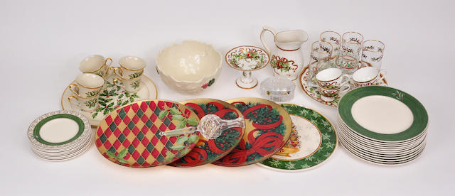A miscellaneous group of glazed ceramic and glass Christmas themed table articles