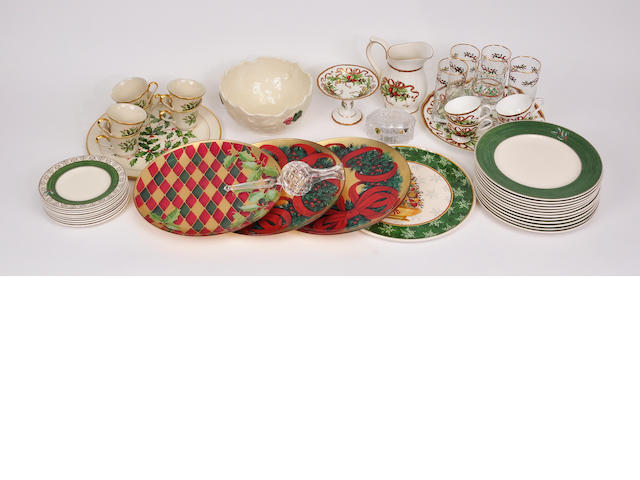 A miscellaneous group of glazed ceramic and glass Chrsitmas themed table articles