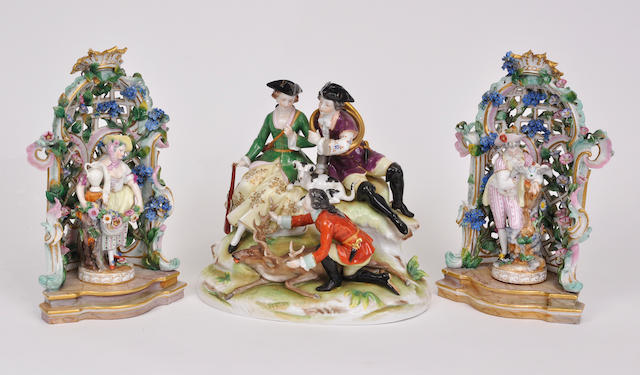 Three German porcelain figural groups