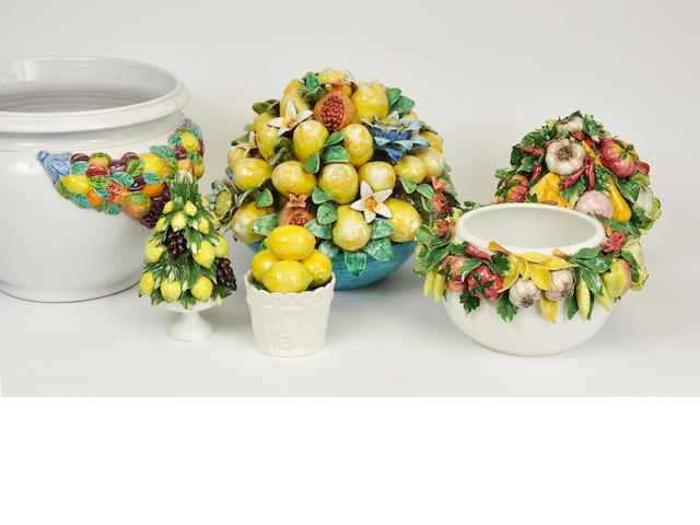 Six Italian glazed ceramic fruit decorated table ornaments or jardinieres