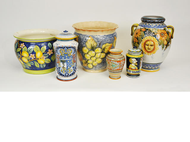 Six Italian glazed earthenware various storage jars or jardieneres