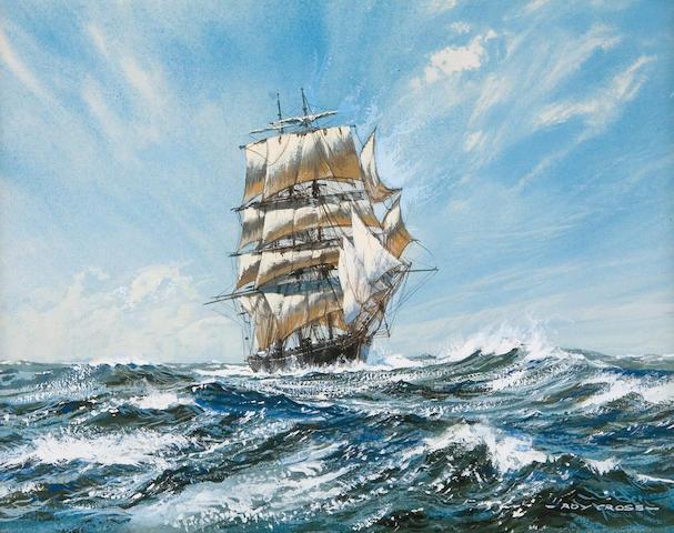 Roy Cross (British, born 1924) Clipper 'Norris' of Damariscotta, Maine c. 1874 8 x 10in