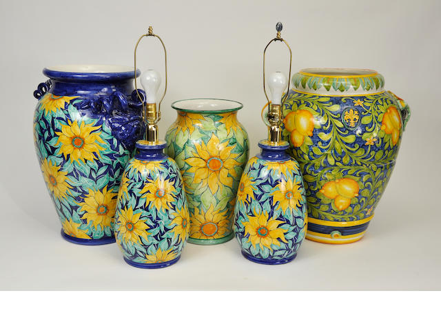 Five Italina glazed earthenware similar storage jars or table lamps