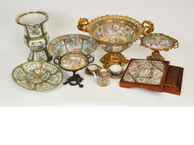 Thirteen Chinese Export porcelain Rose Medallion various objects<BR />mid-19th century and later