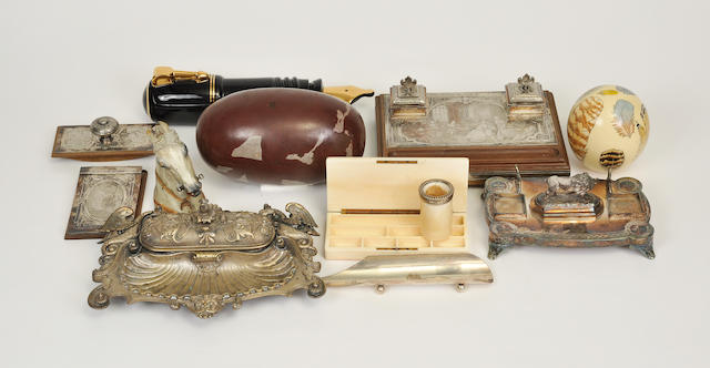 Twenty miscellaneous desk articles, standishes, and inkwells<BR />late 19th century and later