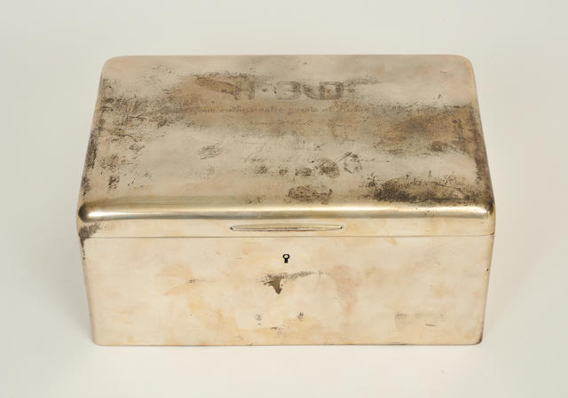 An American sterling silver rectangular large box<BR />manufactured and retailed by Tiffany & Co., New York, NY, 1891-1902