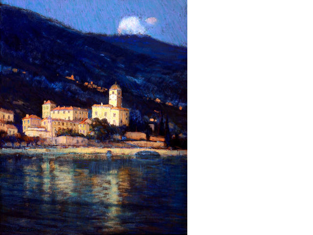 Charles Warren Eaton (American, 1857-1937) Nocturne- City by the Shoreline, Bellagio, Lake Camo, Italy 27 1/2 x 21 3/4