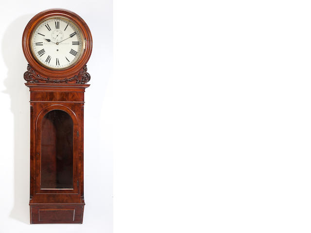 A Victorian carved mahogany wall clock<BR />second half 19th century