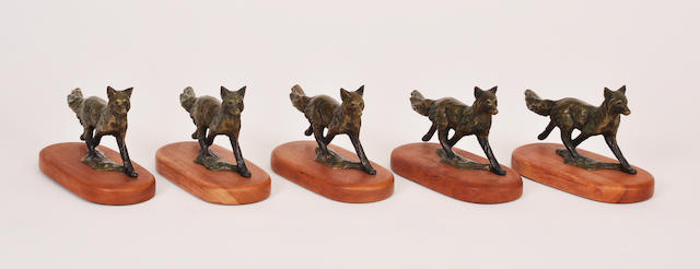 A group five patinated bronze figures of foxes<BR />by Forest Hart