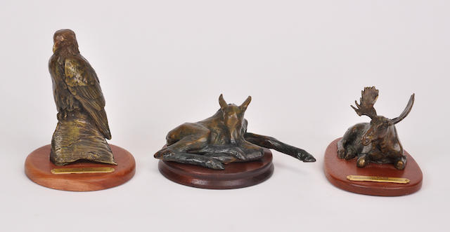 A group of three patinated bronze figures of animals<BR />by Forest Hart<BR />late 20th century