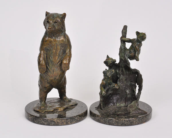 Two patinated bronze sculptures of bears by Forest Hart late 20th century