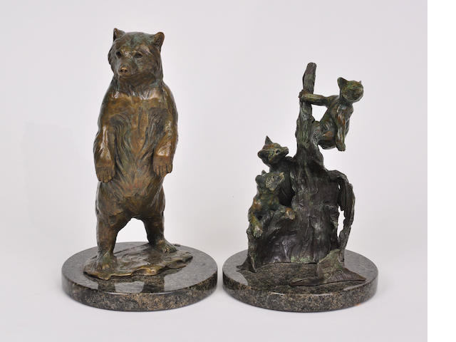 Two patinated bronze sculptures of bears<BR />by Forest Hart<BR />late 20th century