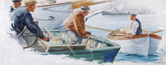 Anton Otto Fischer (American, 1882-1962) Fishermen in port 12 x 30in