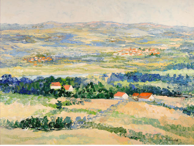 Renee Theobald (French, born 1926) La Vallee de la Dordogne 38 x 51in