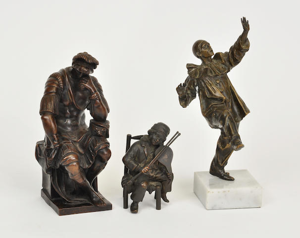 Three diverse patinated bronze figures second half 20th century