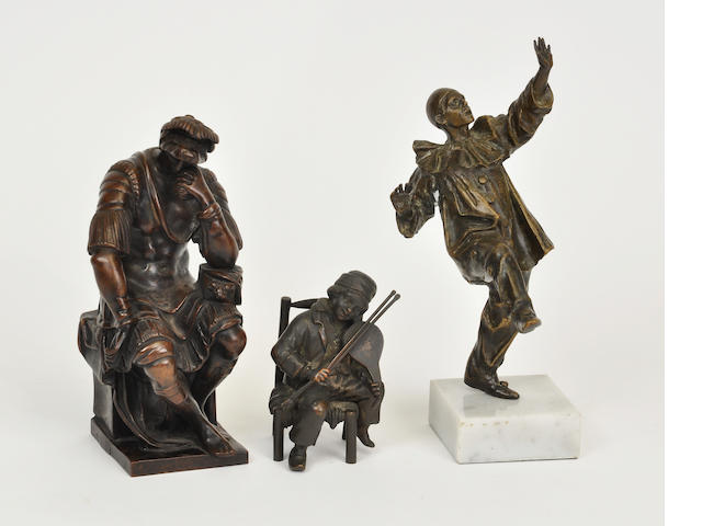 Three diverse patinated bronze figures<BR />second half 20th century