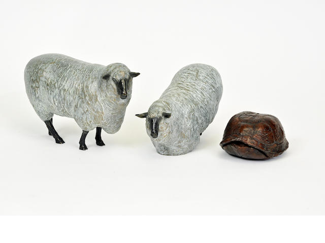 A group of three patinated metal sculptures of sheep and a tortoise<BR />late 20th century