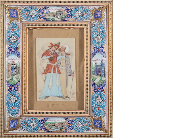 Two Italian renaissance style framed faience plaques and one Persian style miniature on ivory<BR />20th century