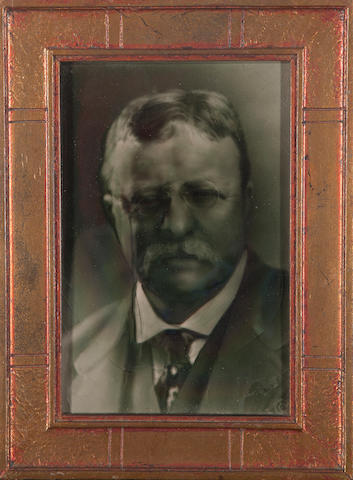 A photographic portrait of Theodore Roosevelt on ceramic<BR />early 20th century