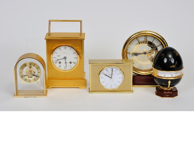 Five various brass and gilt metal table clocks<BR />20th century