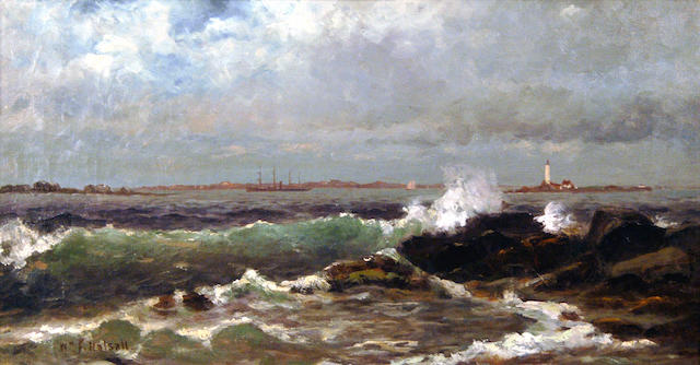 William Formby Halsall (American, 1841-1919) Seascape with Lighthouse 8 1/2 x 16in (21.6 x 40.6cm)