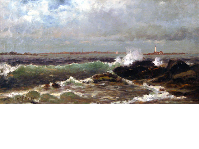 William Formby Halsall (American, 1841-1919) Seascape with Lighthouse 8 1/2 x 16in