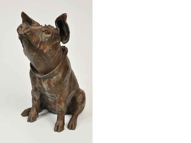 A patinated bronze sculpture of a pig<BR />20th century