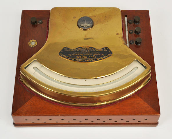 A Weston Direct Reading Laboratory Standard brass and mahogany voltmeter<BR />Weston Electrical Instrument Company, Newark, New Jersey<BR />c. 1900