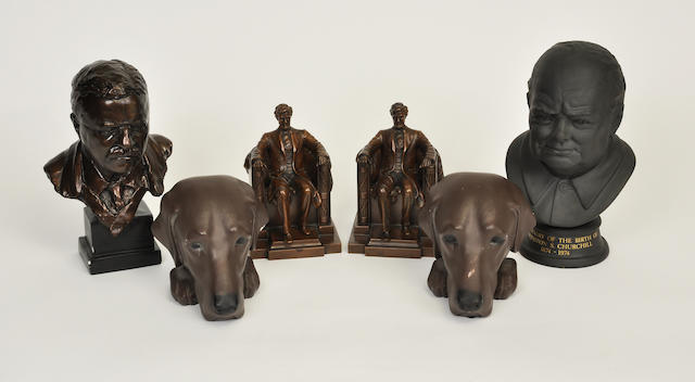 A group of figural and animal sculptures<BR />late 20th century