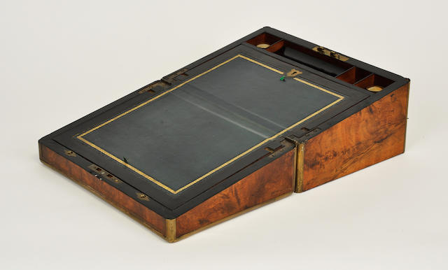 A Victorian brass inlaid burlwood portable laptop desk<BR />mid-19th century